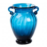 Ваза для цветов с ручками голубого цвета 16х12 см