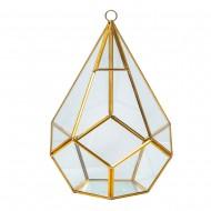 Интерьерное украшение  Геометрический флорариум капля 14х20 см (цвет золото)