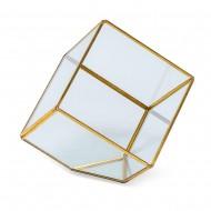 Интерьерное украшение  Геометрический флорариум куб 10x10х10 см  (цвет золото)