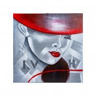 Панно настенное дама в шляпе 60х60 см