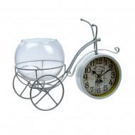 Часы Велосипед белый с вазочкой 35х22х4,5 см