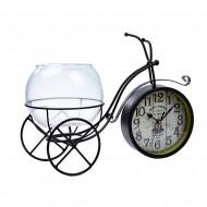 Часы Велосипед черный с вазочкой 35х22х4,5 см