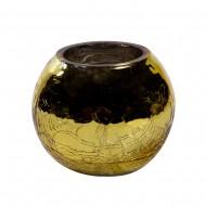 Ваза для цветов стекло золотистая круглая  6х8 см