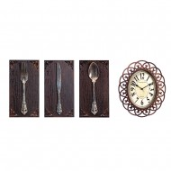 Часы настенные + Панно 3 шт нож,вилка,ложка. 75х31см