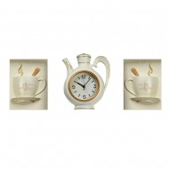 Часы настенные в форме чайника  + Панно 2 шт кружки