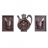Часы настенные в форме чайника  + Панно 2 шт кружки (кофейного цвета)