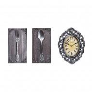 Часы настенные + Панно 2 шт вилка,ложка. 60х34 см