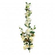 Искусственная ветка Цветущая роза 130 см Белого цвета
