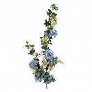 Искусственная ветка Цветущая роза 130 см голубого цвета