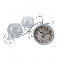 Часы Велосипед с вазочками белый 50х27х5 см