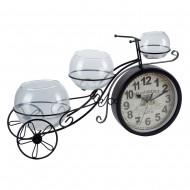 Часы Велосипед с вазочками черный 50х27х5 см