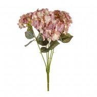 Цветы искусственные Букет Гортензии 49 см цвет светло розовый