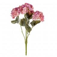 Цветы искусственные Букет Гортензии 49 см цвет сиреневый