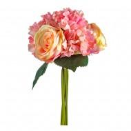 Букет Гортензии и роз  искусственный 6 шт 30 см