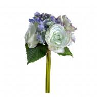 Букет Гортензии и роз  искусственный 6 шт 30 см цвет голубой