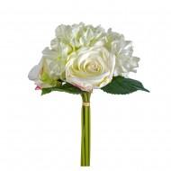 Букет Гортензии и роз  искусственный 6 шт 30 см цвет белый