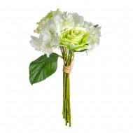 Букет Гортензии и роз  искусственный 9 шт 36 см цвет белый