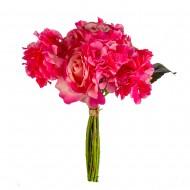 Букет Гортензии и роз  искусственный 9 шт 36 см