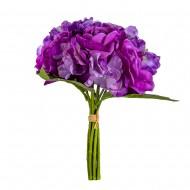 Букет Гортензии и роз  искусственный 9 шт 36 см цвет фиолетовый