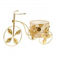 Подставка для цветов Велосипед золотого цвета  37х20 см