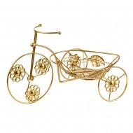 Подставка для цветов Велосипед золотого цвета  35х20 см