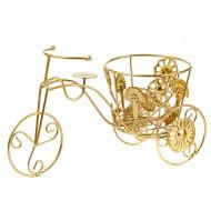 Подставка для цветов Велосипед золотого цвета  36х20 см