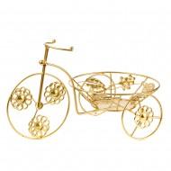 Подставка для цветов Велосипед золотого цвета 32х20 см